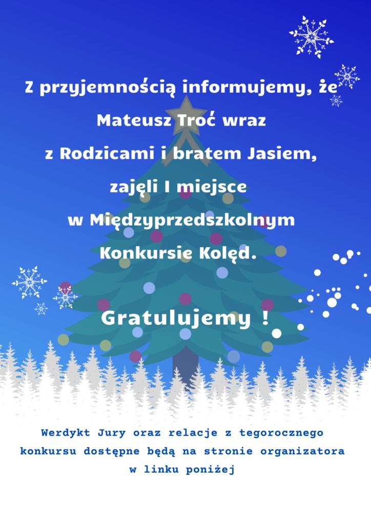 Plakat informacyjny o nagrodzie za udział w Międzyprzedszkolnym Konkursie Kolęd