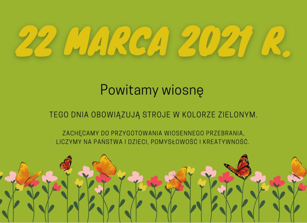 plakat informujący o dniu powitania wiosny. Stroje w kolorze zielonym.