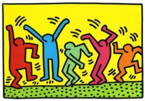 Plakat  Taniec Keitha Haringa przedstawiający kolorowe ikony ludzi w ruchu