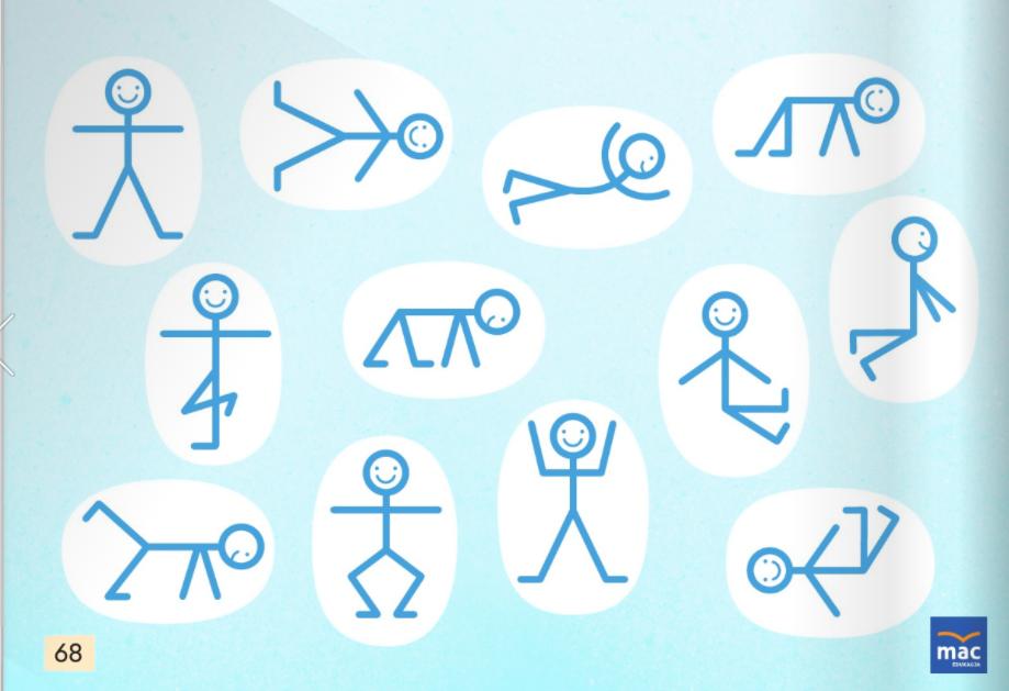 Ikonki niebieskich ludzików na białym tle, przedstawiające różne pozycje ciała