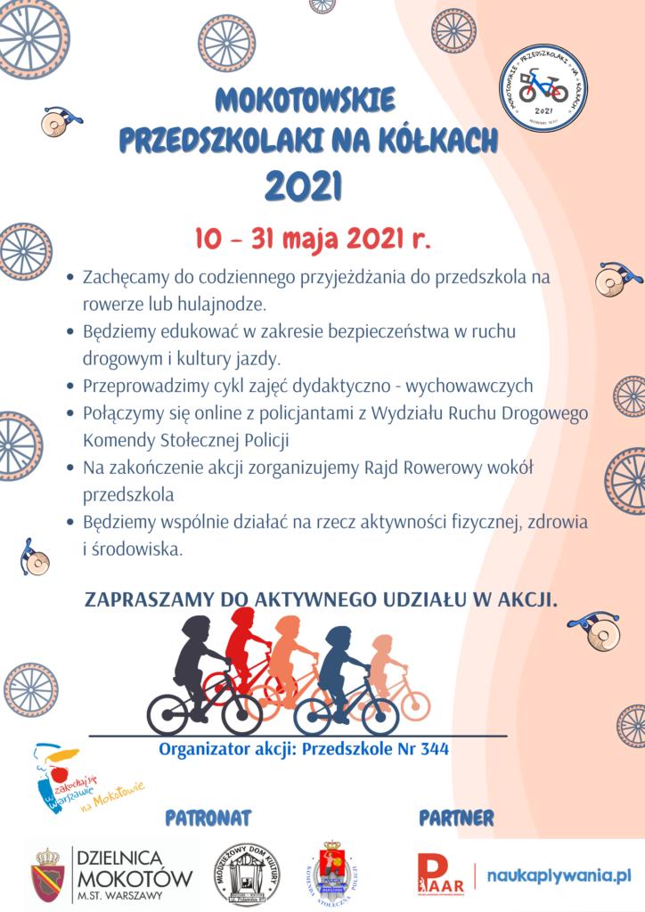 Plakat informujący o akcji Mokotowskie Przedszkolaki na kółkach. Akcja zaczyna się od 10 maja i trwa do 31 maja